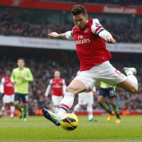 Giroud of Arsenal takes a shot at goal during English Premier League soccer match against Aston Villa in London